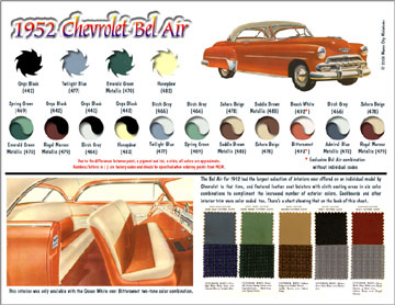 Interior paint colors chart - 1952 Chevrolet Conversion Kits